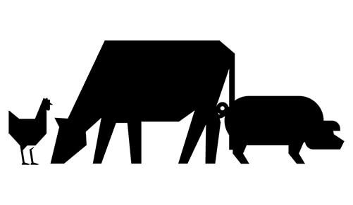 Pictogramme vache, poule, cochon